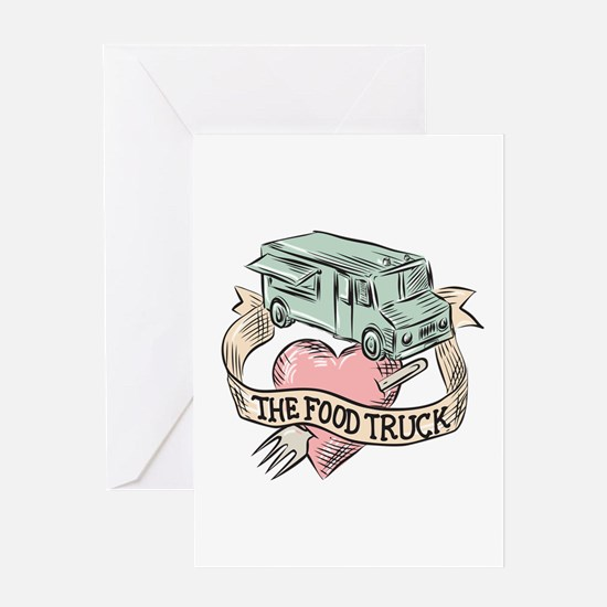 Food Truck Heart Fork Etching Greeting Cards