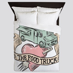 Food Truck Heart Fork Etching Queen Duvet