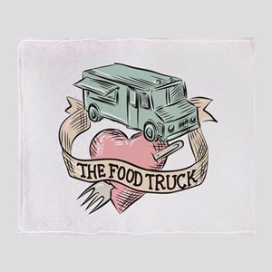 Food Truck Heart Fork Etching Throw Blanket