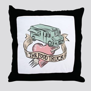 Food Truck Heart Fork Etching Throw Pillow