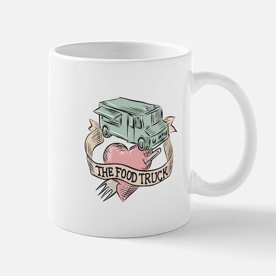 Food Truck Heart Fork Etching Mugs