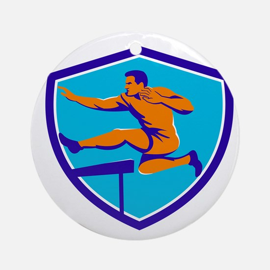 Track And Field Athlete Jumping Hurdle Ornament (R