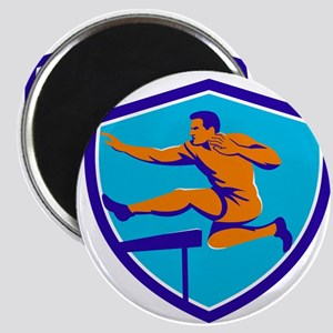 Track And Field Athlete Jumping Hurdle Magnets