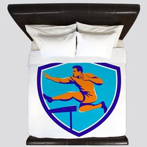 Track And Field Athlete Jumping Hurdle King Duvet