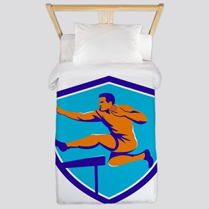Track And Field Athlete Jumping Hurdle Twin Duvet
