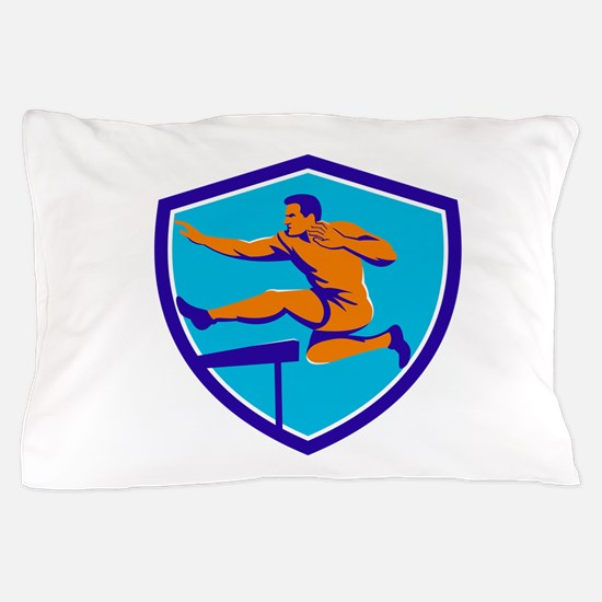 Track And Field Athlete Jumping Hurdle Pillow Case