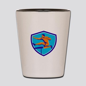Track And Field Athlete Jumping Hurdle Shot Glass