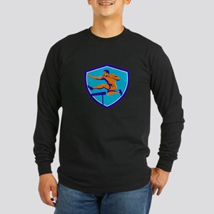 Track And Field Athlete Jumping Hurdle Long Sleeve