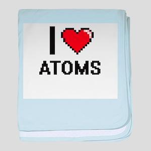 I Love Atoms Digitial Design baby blanket
