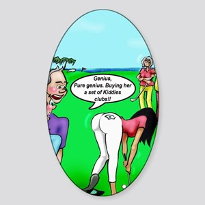 Golf. Pure Genius. by Dave Ell Sticker (Oval)