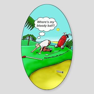 Golf. Where's me ball.  Sticker (Oval)