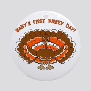 Baby's First Turkey Day Ornament (Round)