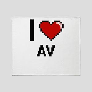 I Love Av Digitial Design Throw Blanket