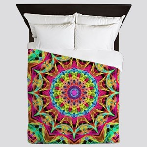 Rainbow Energy Mandala Queen Duvet
