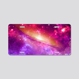 Red And Purple Nebula Aluminum License Plate
