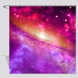 Red And Purple Nebula Shower Curtain