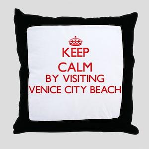 Keep calm by visiting Venice City Bea Throw Pillow