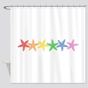Rainbow Starfish Shower Curtain