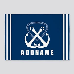 Navy Double Anchor Personalized 5'x7'Area Rug
