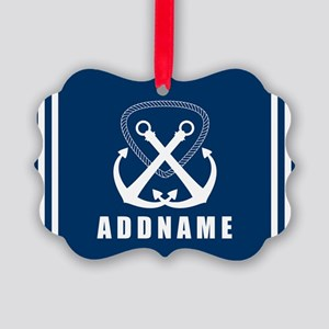Navy Double Anchor Personalized Picture Ornament