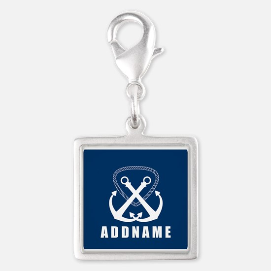 Navy Double Anchor Personaliz Silver Square Charm