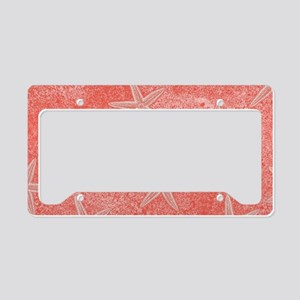 Coral Pink Starfish Pattern License Plate Holder