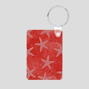 Coral Pink Starfish Pattern Keychains