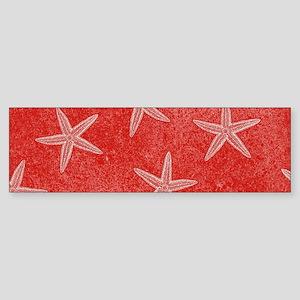 Coral Pink Starfish Pattern Bumper Sticker