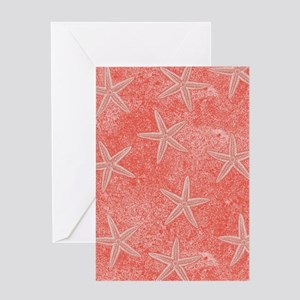 Coral Pink Starfish Pattern Greeting Cards