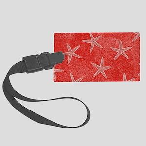 Coral Pink Starfish Pattern Luggage Tag