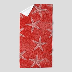 Coral Pink Starfish Pattern Beach Towel