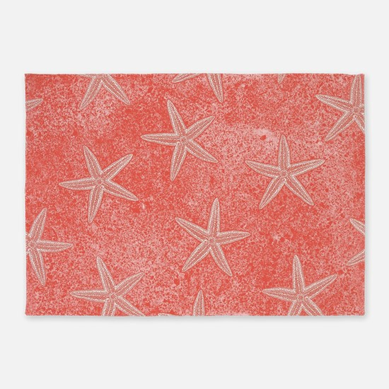Coral Pink Starfish Pattern 5'x7'Area Rug