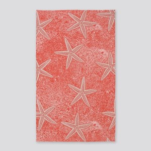 Coral Pink Starfish Pattern Area Rug
