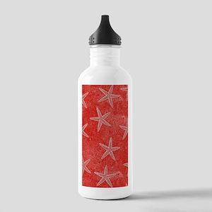 Coral Pink Starfish Pattern Water Bottle