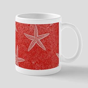 Coral Pink Starfish Pattern Mugs
