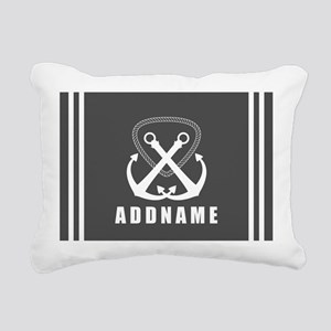 Gray and White Double An Rectangular Canvas Pillow