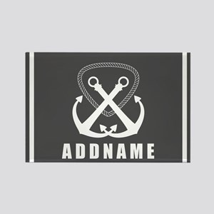Gray and White Double Anchor Pers Rectangle Magnet
