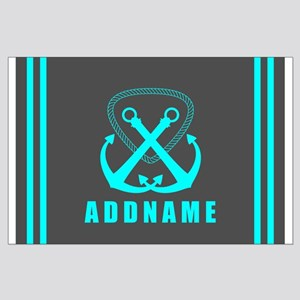 Aqua and Gray Double Anchor Personali Large Poster