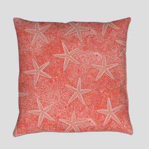Coral Pink Starfish Pattern Everyday Pillow