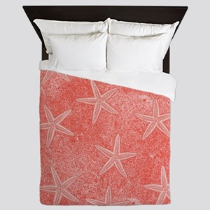 Coral Pink Starfish Pattern Queen Duvet