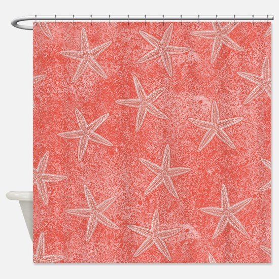 Coral Pink Starfish Pattern Shower Curtain