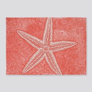 Coral Pink Starfish 5'x7'Area Rug