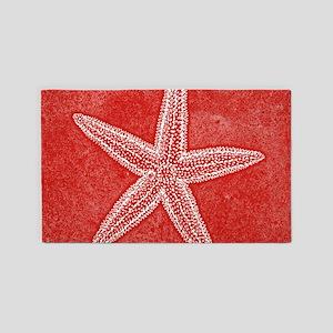 Coral Pink Starfish Area Rug