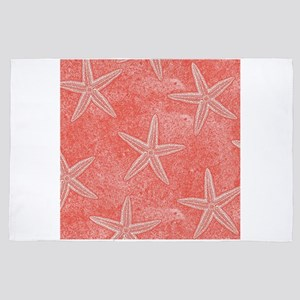 Coral Pink Starfish Pattern 4' x 6' Rug