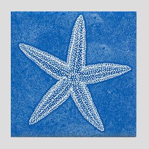 Aqua Blue Starfish Tile Coaster
