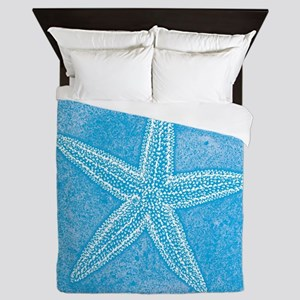Aqua Blue Starfish Queen Duvet