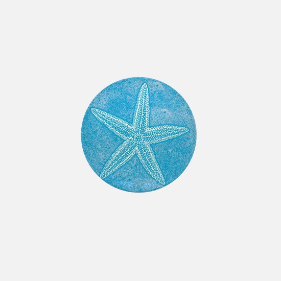 Aqua Blue Starfish Mini Button