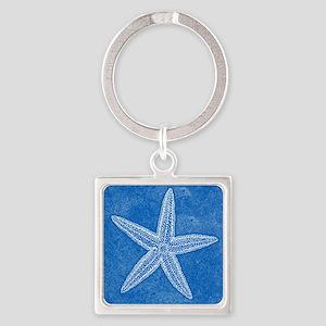Aqua Blue Starfish Square Keychain