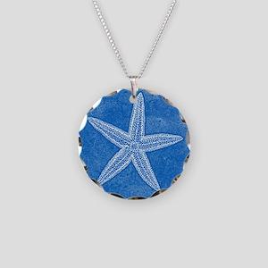 Aqua Blue Starfish Necklace Circle Charm