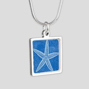 Aqua Blue Starfish Silver Square Necklace